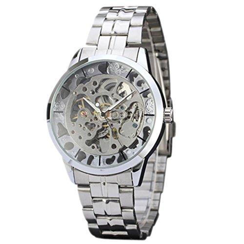 Gaddrt Montre mécanique, Marque supérieure Luxe Creux Quartz analogique Squelette Horloge Automatique Homme Montre (Argent)