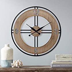 River Parks Studio Addie 26 Round Wood and Metal Wall Clock