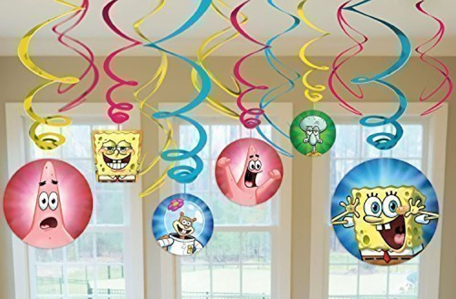 SpongeBob SquarePants Party Foil Hanging Swirl Decorations   Spiral Ornaments (12 PCS) Party Supply, Party Decorations by SpongeBob SquarePants