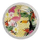 Paquete de 4 pomos para cajones y cajones con asas de tornillo, olas doradas, flamencos y flores