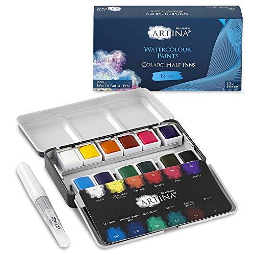 Artina Caja de Pintura Acuarela Colaro - Set de 12 Colores - Caja de Metal con Set de Pintura Acuarela y Pincel de Tanque de Agua