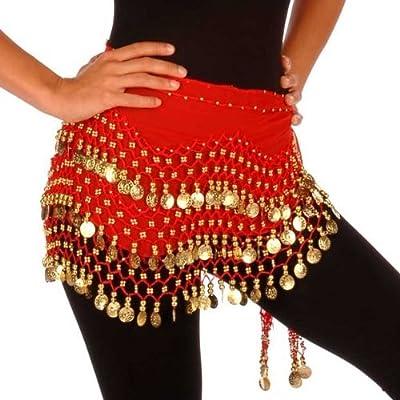 Tzou Red Belly Dance Skirt Hip Scarf