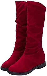 FS65a1253zxc Autumn Winter Women Matte Flock Boots Height Increased Low Heel Shoes Woman Mid Calf High Boots,5MUS,Aa