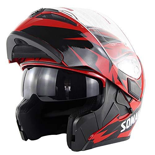 Leaf&Y Modularer Bluetooth-Smart-Motorradhelm, Anti-Fog-Doppelvisier-Klapphelm, Offroad-Motorrad-Motorroller-Rennhelm, Automatische Rufannahme/Musik,M - 5