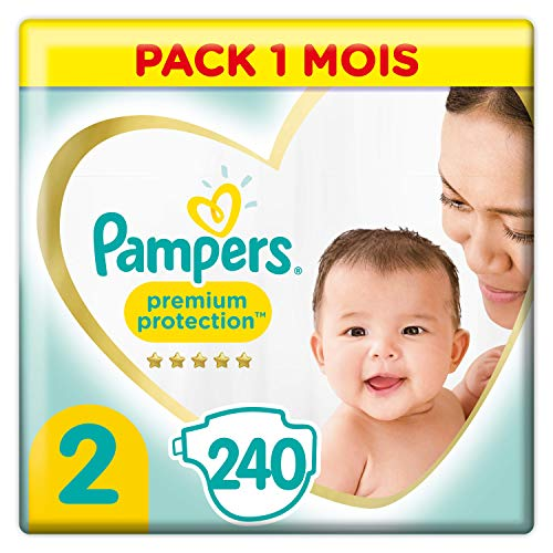 Couches Pampers Taille 2 (4-8 kg) - Premium Protection Couches, 240 couches, Pack 1 Mois