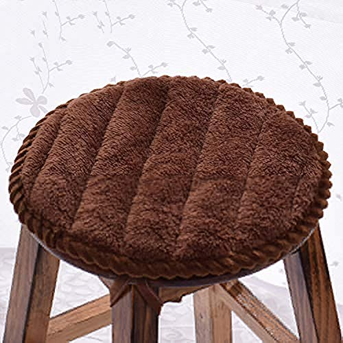 QYDF Chair cushion round and round Monochrome cushions, plush pillows Breathable Home Office Student stool dining chair seat cushion 2PCS,Brown,(diameter) 40cm