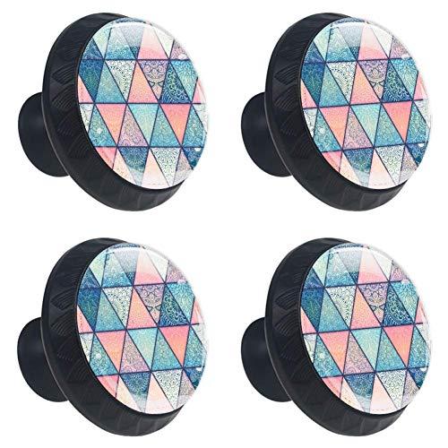 EZIOLY Mandalas sobre fondo azul, rosa, turquesa, morado, 4 piezas de pomos de cristal, con forma de círculo, tiradores con tornillos para el hogar, oficina, cocina, baño, armario, aparador y armario
