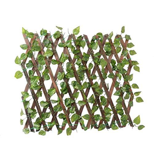WMNRNYD Einziehbarer künstlicher Gartenpflanzenzaun, künstlicher grüner Weinblattgarten-Grenzzaun, dekorativer Gartenhofzaun, mehrere Größen,Schwarz,105cm
