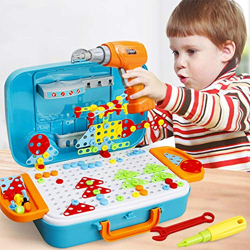 Drill Design Puzzle Creative Toys - Vehicle Travel Case Storage Electric Drill Screwdriver Building 2D 3D Models Blocks Assembly DIY STEM Educational Construction Set 310 Pieces For Children Kids Boys