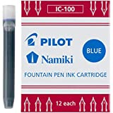 PILOT Namiki IC100 Fountain Pen Ink Cartridges, Blue, 12-Pack (69101)