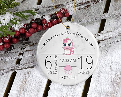 Decorations Unicorn Christmas Ornament for Newborn Girls - My First Christmas Personalized with Date, Weight, Length, Time of Birth - Keepsake Memory Decorative Wall Art for Christmas and Holidays