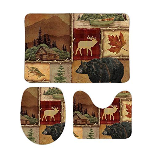 Puxumaa Rustic Lodge Bear Moose Deer 3 Piece Bath Mat Set...