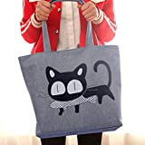 DMH mochila pañales impermeable Lona grande con cremallera bolso de mamá con un hombro-Gato gris