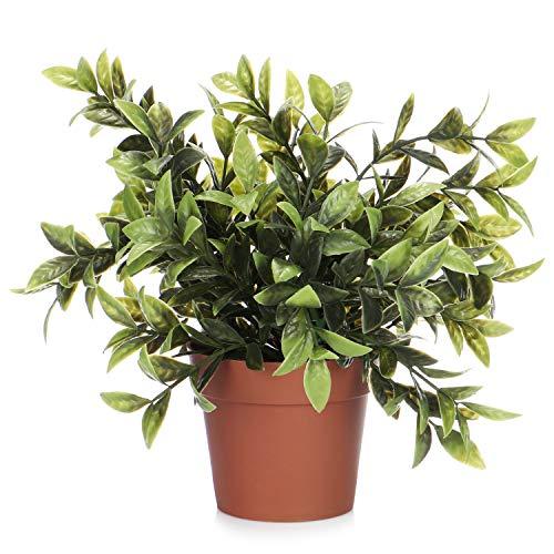 com-four® Kunstpflanze im Topf, künstliche Grünpflanze mit großen Blättern für Zuhause, Büro, Praxis oder Kanzlei, sehr pflegeleicht (01 Stück - große Blätter)