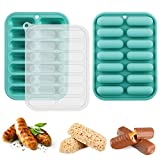 Palksky 2 Pack Granola Bars Mold with Lid, Caramel Energy Chocolate Bar Maker with Cover for Sausage, Pudding, Truffles, Ganache