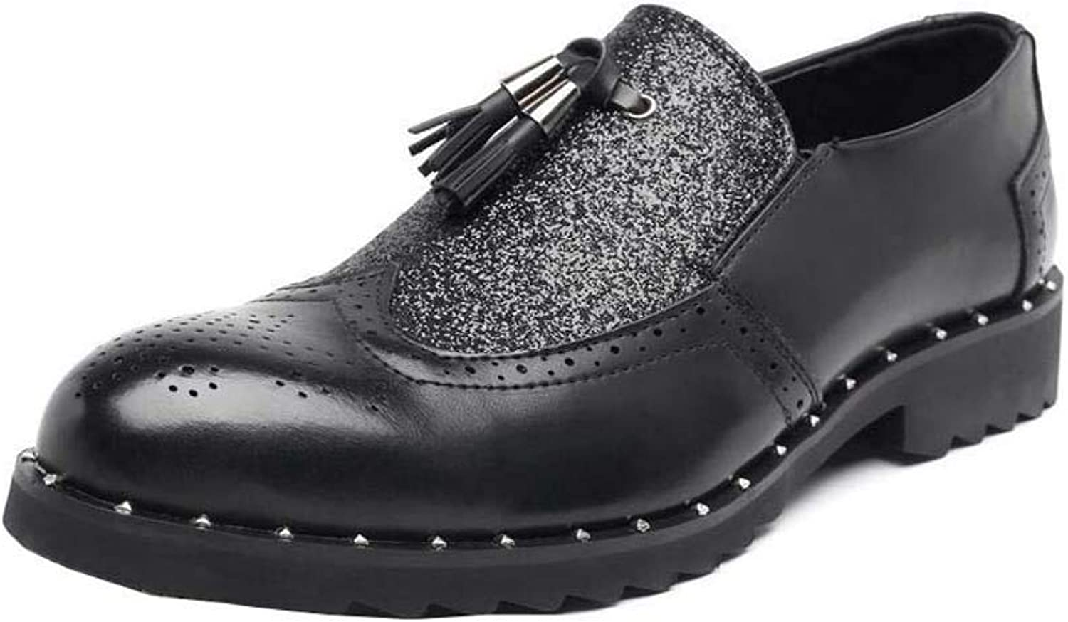 Men Pump Loafer Business Casual Leather shoes Round Toe Sequin Wedding Dress shoes Slip On Monk shoes Eu Size 38-43