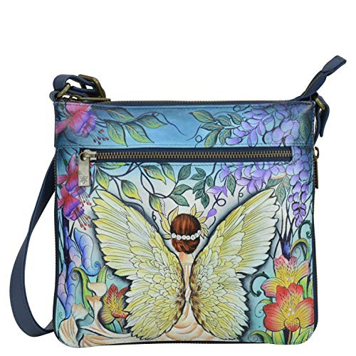 Anuschka Women's Genuine Leather Expandable Travel Crossbody - Hand Painted Exterior - Enchanted Garden