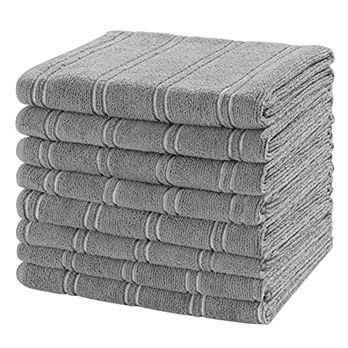 Microfiber Kitchen Towels, 26 x 18 Inch Super Soft and Absorbent Dish Towels Set - 8 Pack Kitchen Hand Towels Tea Towels with Hanging Loop, Stripe Designed Light Grey