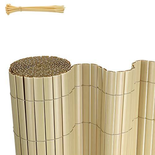 FIXKIT PVC Sichtschutzmatte Sichtschutzzaun Wetterfest Verstärkt Sichtschutz,Dekorativer Kunststoffzaun für,Garten, Balkon und Terrasse,mit Kabelbindern,100 x 300cm,Bambus