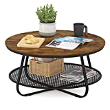 Teraves Industrial Coffee Table for Living Room,Round Coffee Table with Storage Shelf,Modern Coffee Table with Metal Frame,Easy Assembly