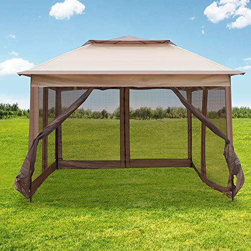 LONABR 10.5X10.5 Gazebo with Mosquito Netting Outdoor Pop up Canopy Tent for Patio,Garden,Backyard Sun Shelter (Brown)