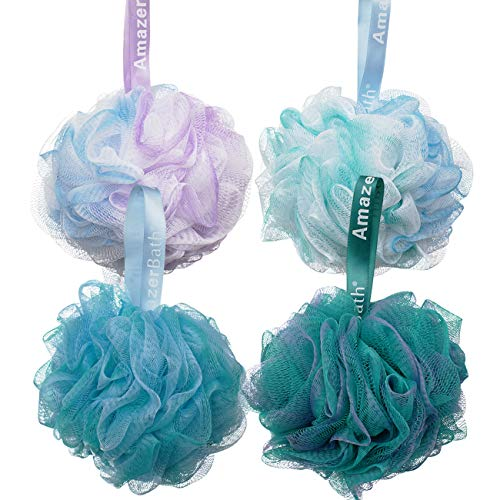 AmazerBath Shower Bath Sponge Shower Loofahs Balls 75g/PCS for Body Wash Bathroom Men Women Set of 4 Flower Color Pack