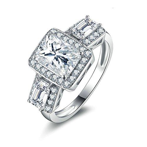 Beydodo Anelli Argento Fidanzamento Donna Anelli Matrimonio Argento con Rotonda e Smeraldo Brillante Diamante Taglia 10-27