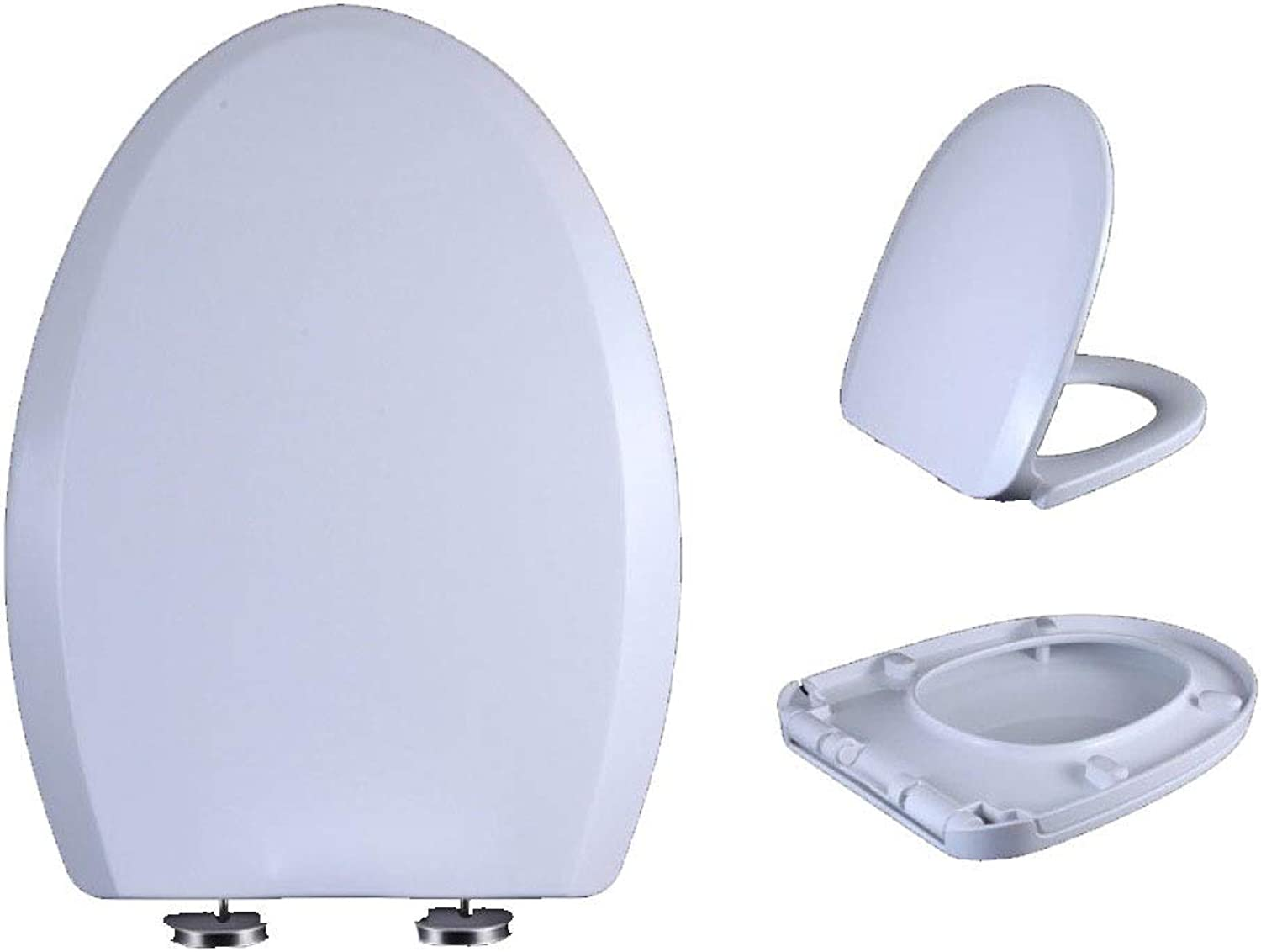 MMKJ White Toilet Seat, Soft Close Adjustable Hinge Quick Release Top Fixed Toilet Seat Cover Bathroom Lid Family Use,White40-45  34cm