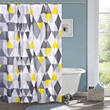 Hiscin PVC Bathroom Shower Curtain 7feet with 12Hooks (Multicolour, 7ft/180x200cm)