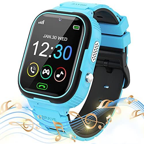 Smartwatch Niños, Reloj Teléfono para Niña y Niño Llamadas Pantalla Táctil con Música Vídeo Juegos SOS Modo silencioso Cámara Alarma, Reloj Inteligente para Niños Regalo (Y28-Azul)