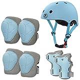 LANOVAGEAR Casco Infantil Set de Protección Casco 2-8 años Ajustable Rodilleras, Coderas y Muñequeras para Patinar Ciclismo Monopatín y Deportes Extremos (Azul Claro, S)