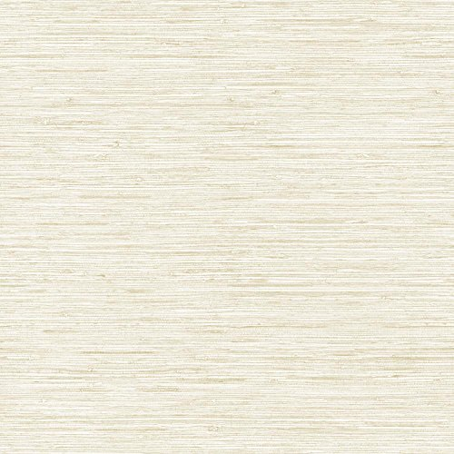 York Wallcoverings WB5501SMP Nautical Living Horizontal Grasscloth Wallpaper Memo Sample, 8-Inch x 10-Inch, White, Beige, Gold Vein