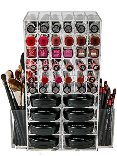 N2 Makeup Co Spinning Acrylic Makeup Organizer Carousel, Holds 72 Lipstick Holder Slots, Brushes & 16 Powder Compact Cases, Clear Cosmetics Storage Box
