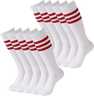 SUTTOS, Calcetines de fútbol, unisex, de algodón, hasta la rodilla, con tres rayas, calcetines de fútbol, 2 – 10 pares - Blanco - Talla única