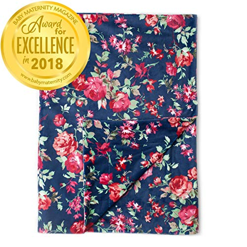 Kids N' Such Minky Baby Blanket 30 x 40 - Navy Floral - Soft Swaddle Blanket for Newborns and Toddlers - Best for Girl Crib Bedding, Nursery, and Security - Plush Double Layer Fleece Fabric