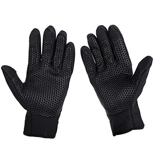 Oyfel Damen-Handschuhe, professionell, Touchscreen, elegant, beheizbar, elastisch, Winter, warm, PU, Schwarz schwarz schwarz
