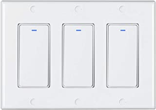 Aleola Smart Light Switch  Wifi Wall Switch, Remote Control Light Switches Compatible with Google Home Assistant Amazon&Alexa, No Hub Required, Voice Control (3 Gang)