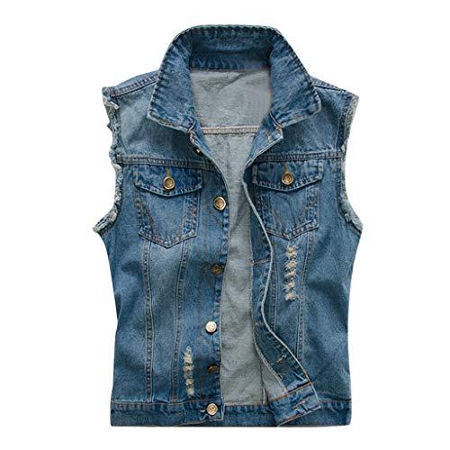 Sylar Chaleco Vaquero para Hombre Camiseta Blusa Tops Sin Mangas Moda Camisetas De Tirantes Hombre con Bolsillos