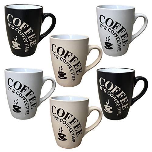Kaffeebecher 6 Stück Coffee Tassen 300ml aus Keramik Kaffee Becher Tassen 6er Set