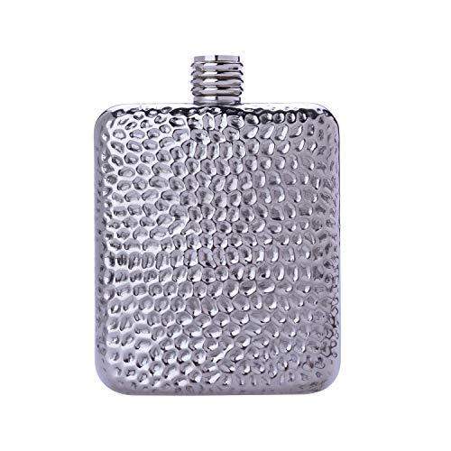 LAGUIOLE - Alkoholflasche - Hammereffekt - Weihnachten, Geburtstagsgeschenkidee - Praktisch und elegant, ideal für den Transport aller Arten von Alkohol - Inhalt 6 OZ - 175 ml - -