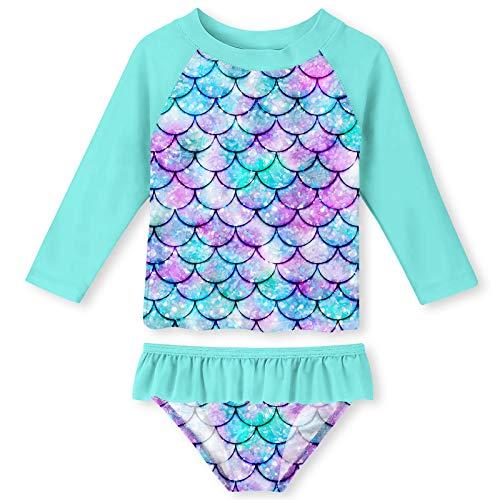 Funnycokid Girls Rash Guard Swimsuit Set Long Sleeve Two Piece Bathing Suit with UPF 50+ UV(5-6 Years,Mermaid 01)