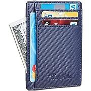Travelambo Front Pocket Minimalist Leather Slim Wallet RFID Blocking Medium Size(carbon fiber texture navy blue)