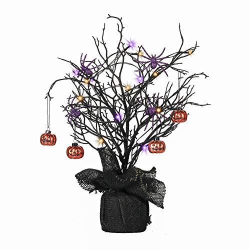 Valery Madelyn 50cm Halloween Baum mit Halloween-Kürbissen und Spinnenornamenten für Halloween-Partydekorationen, batteriebetriebene 17 LED-Leuchten
