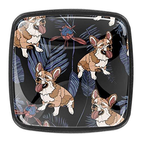 [4 unidades] pomos de armario de cocina sólidos cuadrados, tiradores de cajón, tiradores de cajón, lindo perro corgi en las hojas