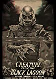 Kemeinuo Cuadros Modernos Película de Terror Criatura del Cartel de la Laguna Negra Pintura casera para café 60x90cm