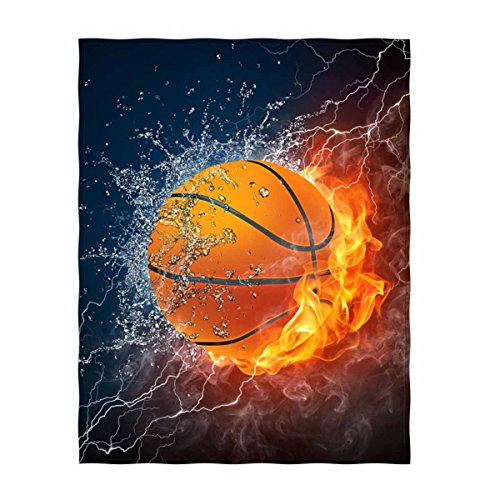 """QH Basketball Print Throw Blanket Comfort Design Home Decoration Fleece Blanket Perfect for Couch Sofa or Travelling 58"""" x 80"""" (4)"""