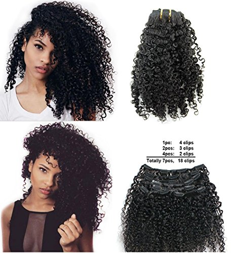 """Ms Fenda Brazilian Remy Virgin Hair Kinky Curly 3B 3C Natural Color African American Clip In Hair Extensions 120Gram 7Pcs/Set(14"""")"""