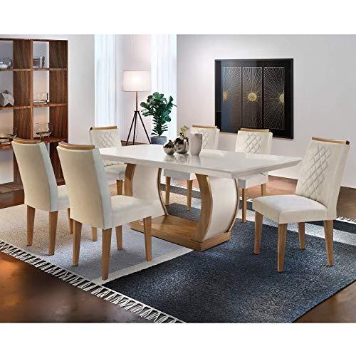 Conjunto Sala de Jantar 6 Cadeiras Kate Siena Moveis