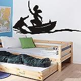 wZUN Calcomanía de Pared de Dibujos Animados Barco Pirata habitación Infantil decoración de Dormitorio Vinilo vivero decoración 57X29cm