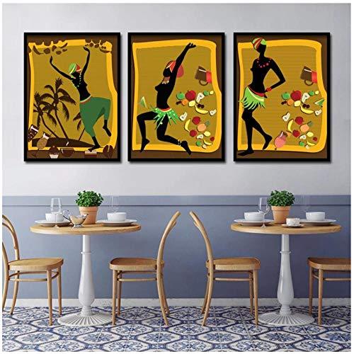 WANGHH Dibujos animados estilo africano mujeres frutas pastel bebidas arte de la pared lienzo pintura carteles e impresiones cuadros de pared para la decoración de la sala de estar-30x40cmx3 sin marco